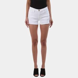Frame Le Cutoff Denim Short in Blanc Taffs