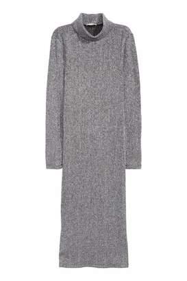 H&M Glittery Turtleneck Dress - Silver-colored - Women