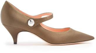 Rochas Point Toe Mary Jane Satin Pumps - Womens - Khaki