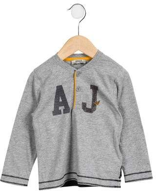 Armani Junior Boys' Logo Printed Crew Neck Shirt
