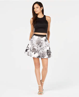 Speechless Juniors' 2-Pc. Solid & Floral Fit & Flare Dress