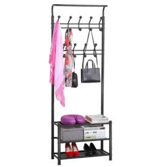 Yaheetech Metal Entryway 18 Hooks Coat Rack with 3-Tier Shoe Rack Bench Hat Umbrella Stand (Black)