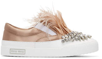 Miu Miu White and Pink Feather Crystal Slip-On Sneakers