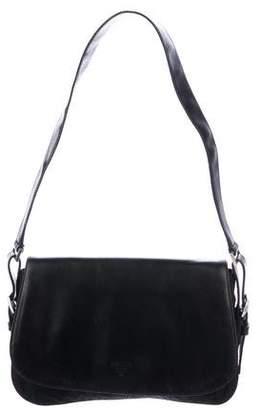 Prada Leather-Trimmed Tessuto Flap Bag