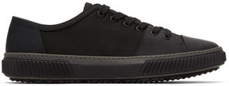 Prada Black Leather and Canvas Sneakers