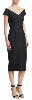 Lela Rose Open-Neck Sheath Dress