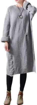 Zoulee Women's Irregular Hem Hollow Wool Knitted Sweater Dress Grey