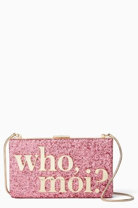 Kate Spade New York Who Moi? Glitter Clutch - None $358 thestylecure.com