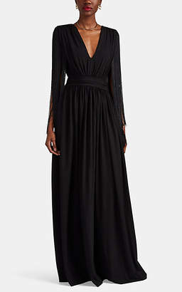 Alberta Ferretti Women's Fringe-Trimmed Ponte Gown - Black