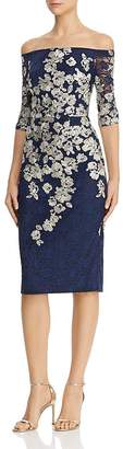 Avery G Embroidered-Lace Midi Dress