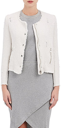 IRO Women's Agnette Distressed Cotton Jacket $580 thestylecure.com