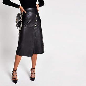 River Island Black faux leather button A line midi skirt