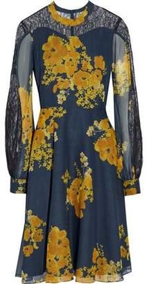 Sachin + Babi Velir Chantilly Lace-Paneled Floral-Print Georgette Dress