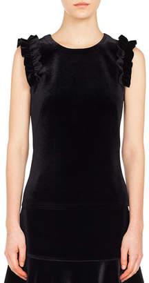 Akris Punto Ruffled-Shoulder Sleeveless Velvet Front Jersey Back Top