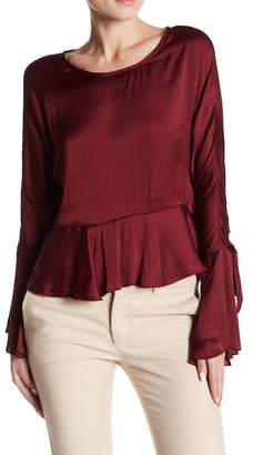 Romeo & Juliet Couture Satin Flare Accent Blouse