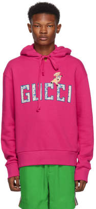 Gucci Pink and Multicolor Logo Hoodie