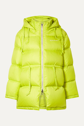 Acne Studios Oversized Hooded Quilted Neon Shell Down Jacket - Chartreuse