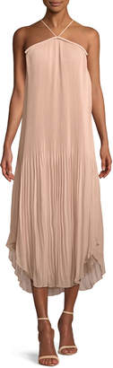 Ramy Brook Catalina Pleated Georgette Halter Midi Dress