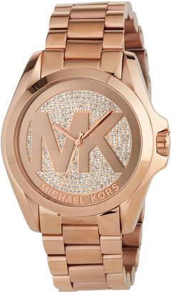 MICHAEL Michael Kors 43mm Bradshaw Logo Bracelet Watch, Rose Gold