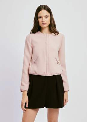 Emporio Armani Bomber Jacket In Techno Crepe With Side Pockets