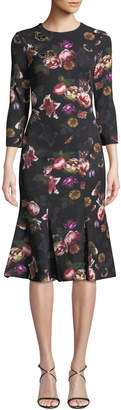 Theia Floral Butterfly Brooch Dress