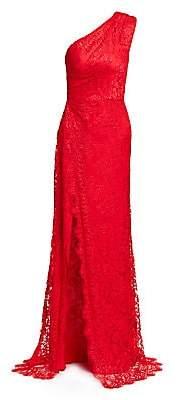 Monique Lhuillier Women's One-Shoulder Sleeveless Lace Side Slit Gown