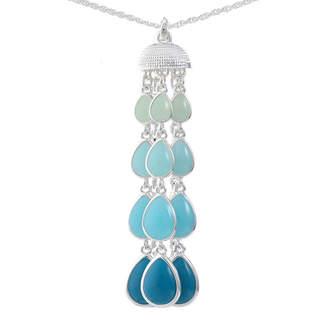 Liz Claiborne Womens Blue Pear Pendant Necklace