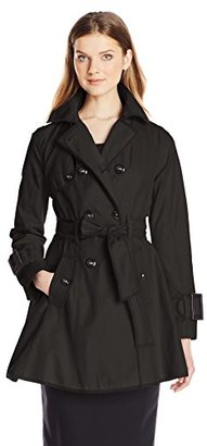Betsey Johnson Women's Double Breasted Trench Coat with Piping and Corset Back $190 thestylecure.com