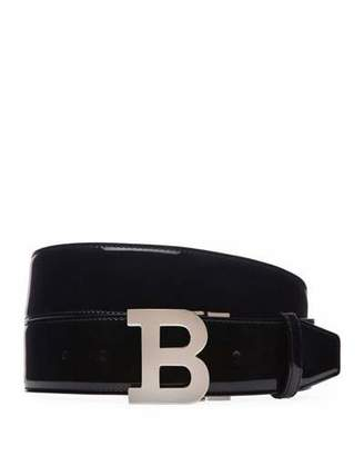 Bally Men's B-Buckle Patent Leather Belt