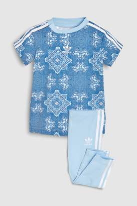 Next Girls adidas Originals Baby Blue Printed Tee And Legging Set