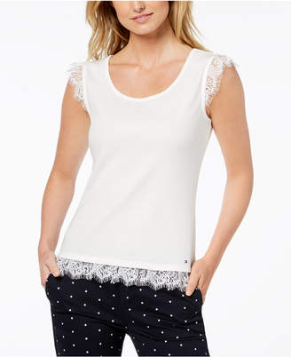 Tommy Hilfiger Cotton Lace-Trim Tank Top, Created for Macy's
