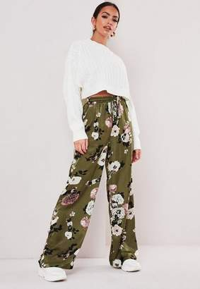 Missguided Green Floral Wide Leg Pants