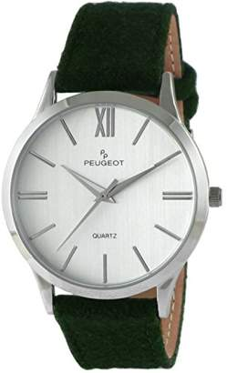 Peugeot ' Slim Case' Quartz Metal and Leather Casual Watch