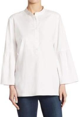 Tibi Satin Poplin Cotton Bell-Sleeve Tunic