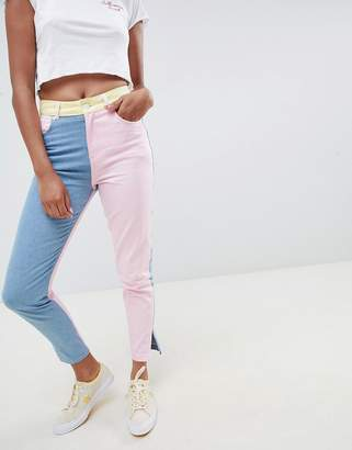 Hello Kitty x ASOS DESIGN color block jeans with embroidery detail