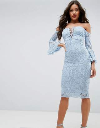 Asos DESIGN Lace Tie Fluted Sleeve Midi Dress