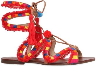 10mm Pompom Embroidered Leather Sandals $241 thestylecure.com