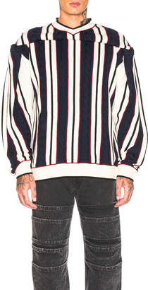 Y/Project Clipped Shoulder Knit in White & Navy | FWRD