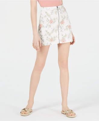 Tinseltown Juniors' Printed Zip-Front Denim Mini Skirt