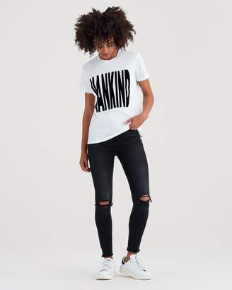 7 For All Mankind Makind Baby Tee with Black Flocking in White