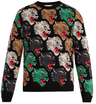 Gucci Panther Face Wool Sweater - Mens - Multi