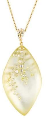 Alexis Bittar Encrusted Crystal Lucite Leaf Pendant Necklace