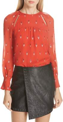 Joie Mosi Metallic Silk Blouse