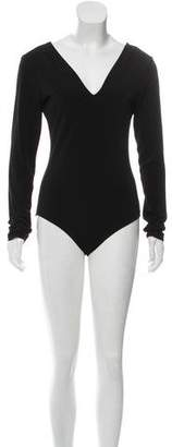 Alice + Olivia Long Sleeve Plunging Bodysuit