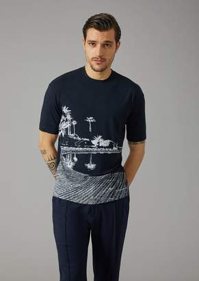 Giorgio Armani Stretch Jersey T-Shirt With Pantelleria Print