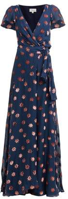 Temperley London Star Velvet Devore Wrap Front Gown - Womens - Navy Multi
