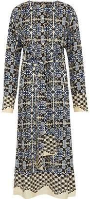 Goen.j Tie-Front Printed Silk Midi Dress