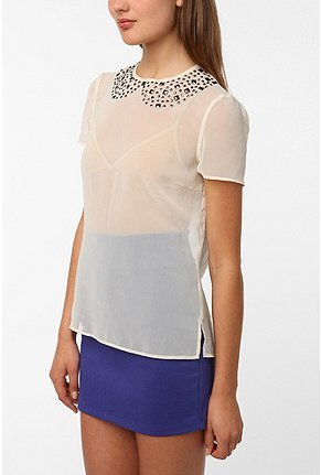 Lucca Couture Studded Trompe L'oeil Blouse