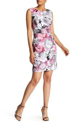 Connected Apparel Floral Photo Sheath Dress