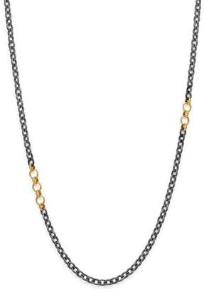 Armenta 18K Yellow Gold & Blackened Sterling Silver Old World Adjustable Link Necklace, 32""